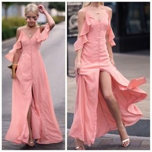 Millions of Peaches Flowing Button Up Maxi Dress!